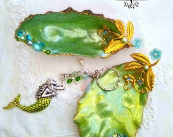 Matching Pair Of OOAK Mermaid Shell Jewellery Dish & Ring Dish, Trinket Dish Key Holders With Matching Mermaid Keyring