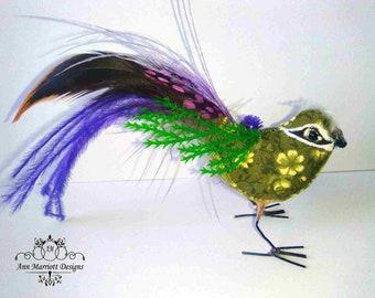 OOAK Textile Fabric Cloth Fairy Bird Soft Sculpture Art Doll Decoration Ornament