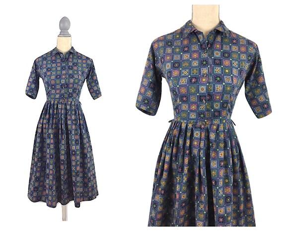 Vintage 50's Novelty Folk Print Dress XS