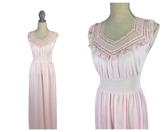 Vintage 1940's Soft Pink Lace Nightgown Lingerie S