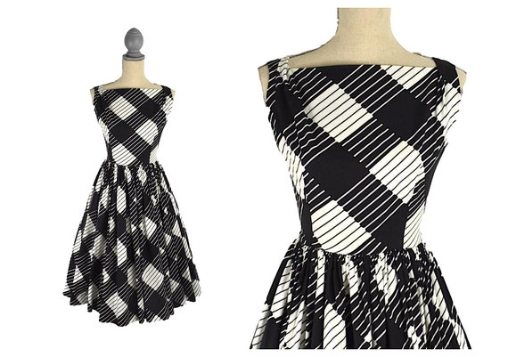 Vintage 1950's Mode O Day Black and White Cotton F