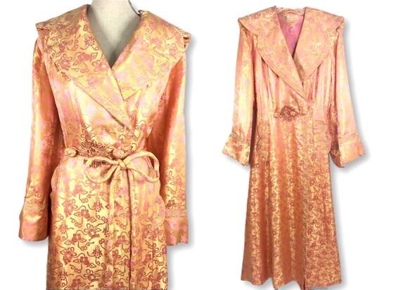 Vintage 1940's Satin Silk Robe Lingerie Size L