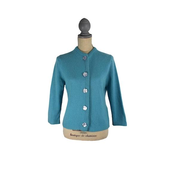 Vintage 1950's Blue Knit Cardigan Sweater Sz M