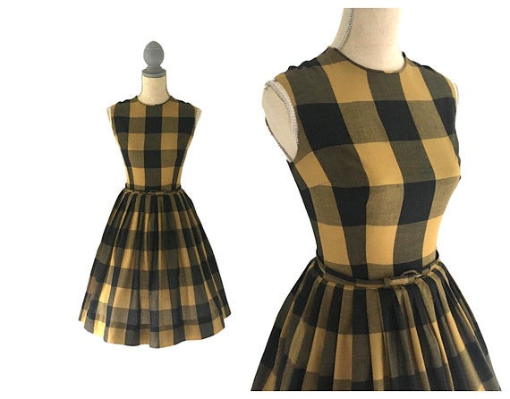 Vintage 60's Gay Gibson Buffalo Plaid dress S