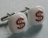 Dollar sign Cufflinks - Fused glass