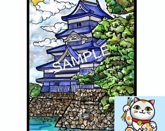 "Art Print, 5x7"", 8x10, Matsumoto castle, Essence of Japan, Hand painted."