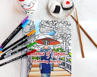 """Japan Coloring book, Adult Coloring Book, De-stress, Japanese Designs, Pandemic shut in,  """"Essence of Japan, A coloring Journey"""""""