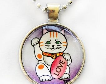Maneki Cat with Love affirmation, good luck beckoning cat,  silver necklace, Japanese pendant