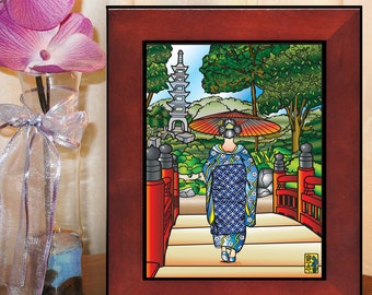Art Print, 5 x7, 8 x 10, Geisha, Essence of Japan, Japanese garden