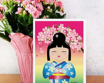Art Print, 5x7, Kawaii Kokeshi under cherry Blossoms