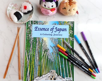Japan Coloring book, Adult Coloring Book, Destress,  Japanese Designs, Essence of Japan, ArtisticWill Designs