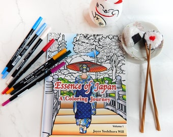 Adult Coloring Book, Japan Coloring book, De-stress, Relaxation, Japanese Designs, Essence of Japan, ArtisticWill Designs