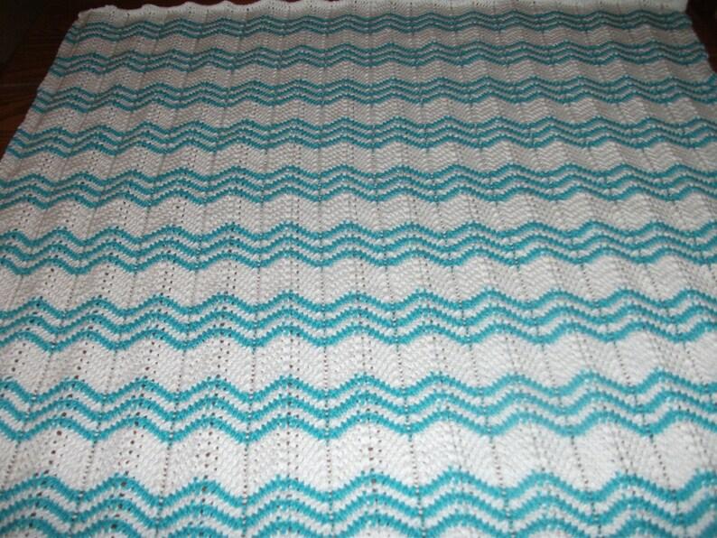 White and Turquoise Cotton Chevron Baby Blanket