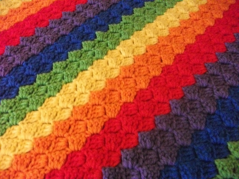 Diagonal Rainbow Baby Blanket | Etsy