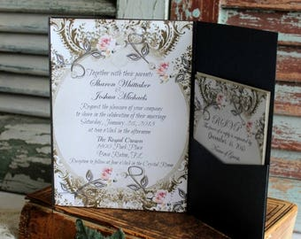 Romantic Elegant Vintage Wedding Invitation Pocketfold Handmade by avintageobsession on etsy