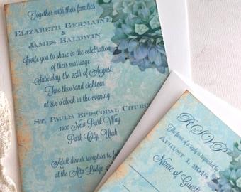 Vintage Elegant Turquoise with Damask Backgroubd Wedding Invitation Suite Handmade by avintageobsession on etsy