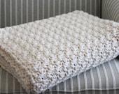 Chunky Crocheted Blanket - Crochet Wool Throw - Blanket - Hand Crochet - Home Decor - Crochet Afghan -Throw - by avintageobsession on etsy