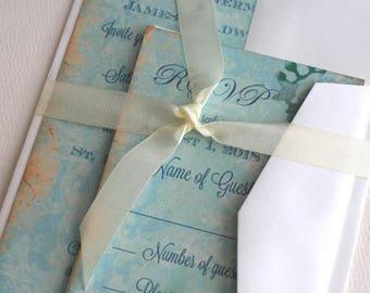 Vintage Elegant Turquoise with Damask Backgroubd Wedding Invitation Suite SAMPLE Handmade by avintageobsession on etsy