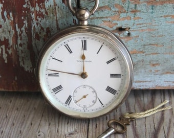 Antique American Watch Company 1906 Coin Silver Pocket Watch by avintageobsession on etsy...FREE USA Shipping