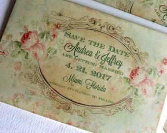 Vintage Elegant Floral Background Save the Date Cards Handmade by avintageobsession on etsy