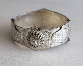 Vintage  Nickel Silver Cuff Bracelet by avintageobsession on etsy