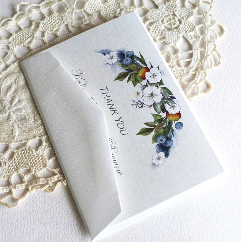 Set of 20 Wedding Thank You Cards Blueberry and Floral Thank You Personalized Thank You Cards Bridal Shower Thank You Cards