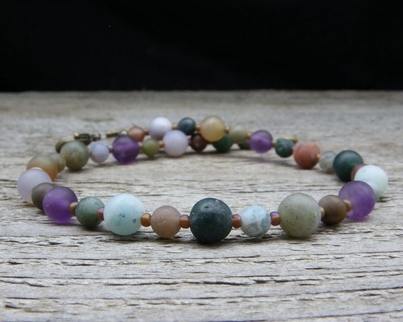 Small to Large Size Ankle Bracelet Stone Anklet Frosted Jasper and Amethyst Anklet Small to Plus Size Anklet 9-14 Inches Your Choice