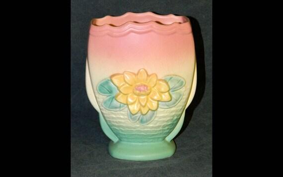 Vintage Art Vase Hull Flower Vase Water Lily Florida 1949