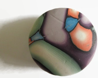 Pill Box, Pill Case, Trinket Box in Green, Blue and Violet with Touches of Peach