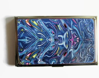 Business Card Case, Credit Card Case, Metal Card Case, Shades of Blue with Mirrored Design
