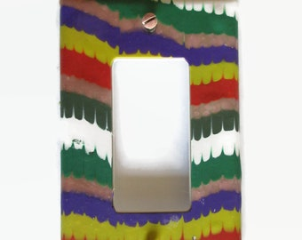 Light Switch Cover, Rocker Switchplate, Single Switch Plate, Bright Stripes // Gifts for the Home