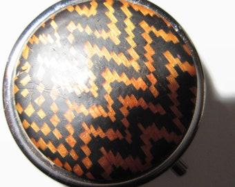 Pill Box, Pill Case, Trinket Box in Orange and Black Zigzag Pattern