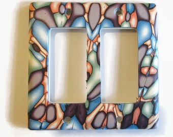 Light Switch Cover, Rocker Switchplate, Double Switch Plate, Multicolor // Gifts for the Home