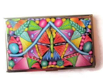 Business Card Case, Credit Card Case, Metal Card Case With Intricate Multicolor Design