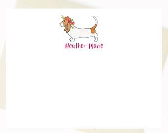 Basset Hound Floral Crown Card