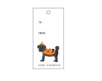 Pug Pumpkin Treat Gift Tags