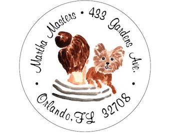 Lady with bun and Yorkie - Address Labels