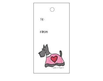 Scottie Hearts Valentine Gift Tags