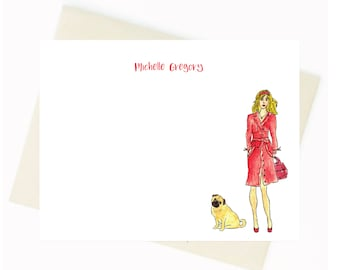 Personalized Stationery - Red Trench Coat Lady and Dog Notecards {Notecards, Personalized, Watercolor, Fashion Illustration}
