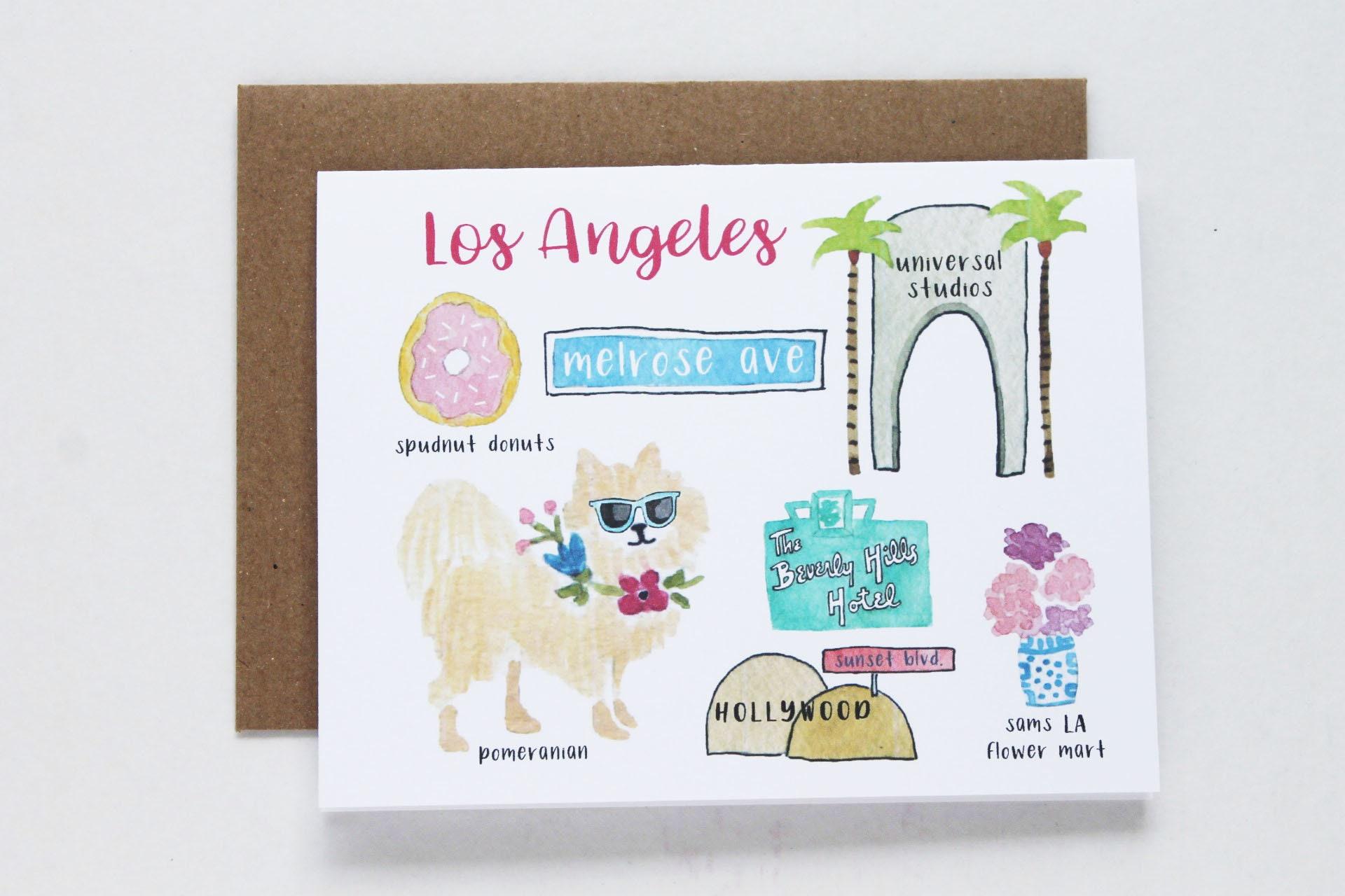 Los Angeles Greeting Card Etsy