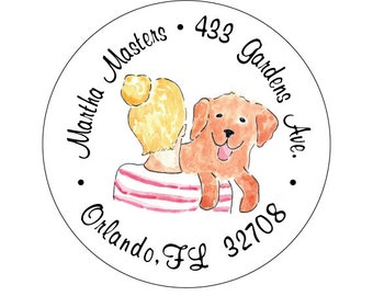 Lady with bun and Golden Retriever - Address Labels