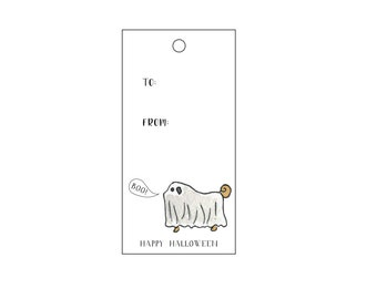 Pug Ghost Treat Gift Tags