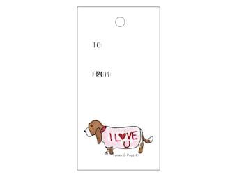 Basset Hound Valentine Gift Tags