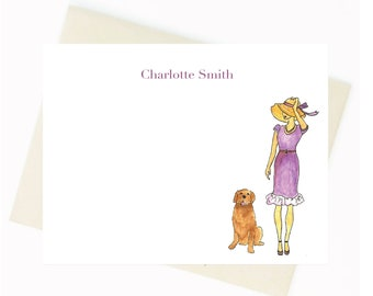 Personalized Stationery - Lady and Dog Notecards {Notecards, Personalized, Watercolor, Fashion Illustration}