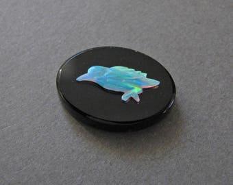 One of a Kind Fiery Opal Bird on Onyx Oval Cabochon