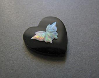 One of a Kind Fiery Opal Butterfly on Onyx Heart Cabochon