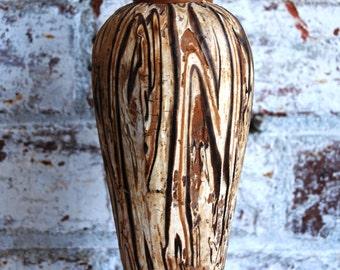 Vintage Mid Century Art Pottery Vase, Faux Bois