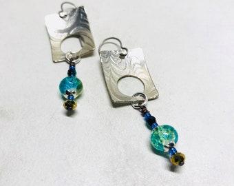 Geometric Earrings - Silver Dangle Earrings - Statement Jewelry - Handmade Jewelry - OOAK