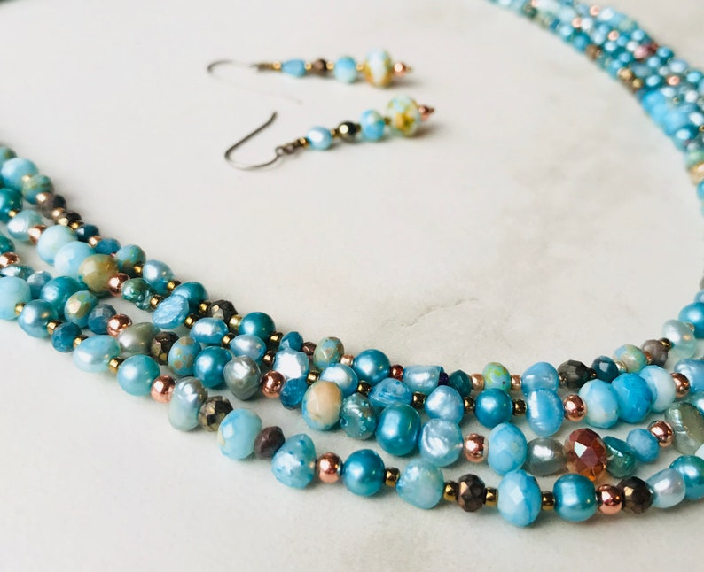 Hand Beaded Multi Strand Necklace Beaded Necklace Set Turquoise Colored Jewelry Statement Necklace Gift for Her Beach Jewelry