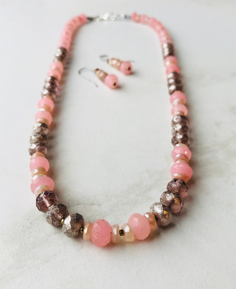 Pink Chalcedony and Moonstone Statement Necklace with Matching Earrings
